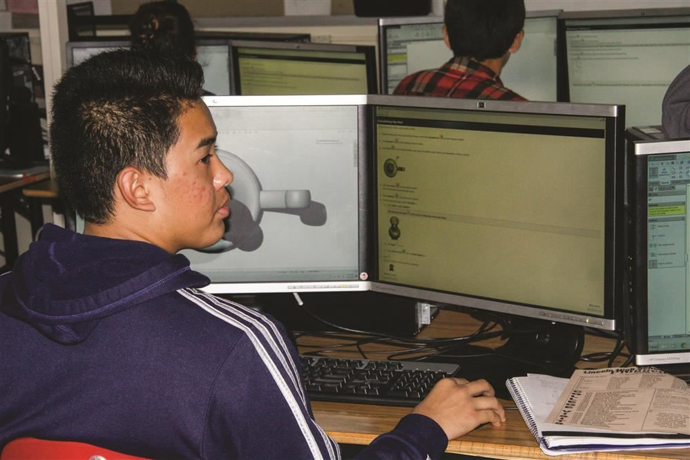 student on computer